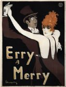 "Vintage German ""Erry & Merry"" Dance Team Poster, 1912"